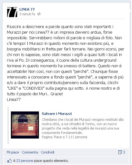 Status su Fb dei Linea 77 contro la chiusura dei Murazzi a Torino