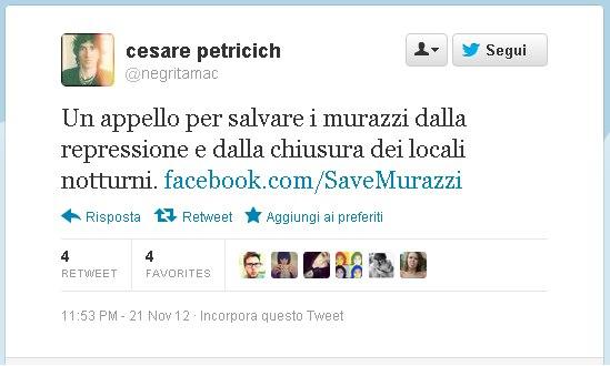 Cesare Petrichich Negrita contro chiusura Murazzi