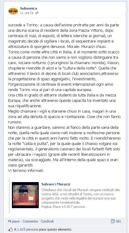 Status su Fb dei Subsonica contro la chiusura dei Murazzi a Torino