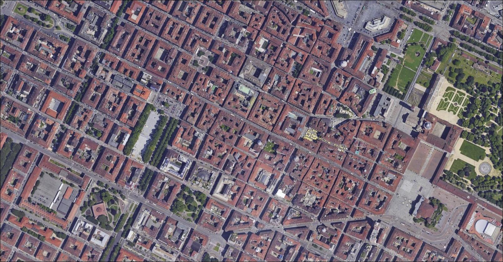 Via Garibaldi Torino visto dal satellite dallo