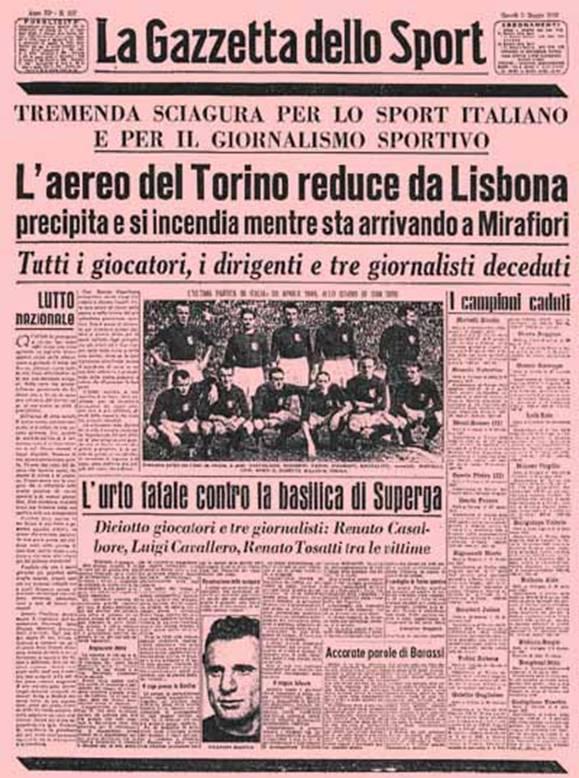 Tragedia di Superga: il mondo la ricorda, l'Italia no.