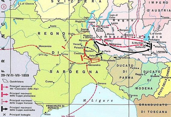 1858: cartina della Francia e del Regno di Sardegna