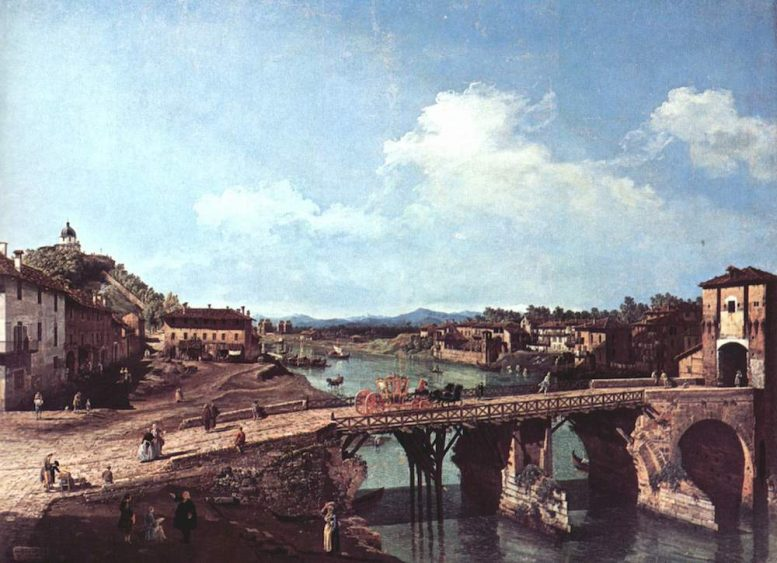 Dipinto Borgo Po prima nel 1800