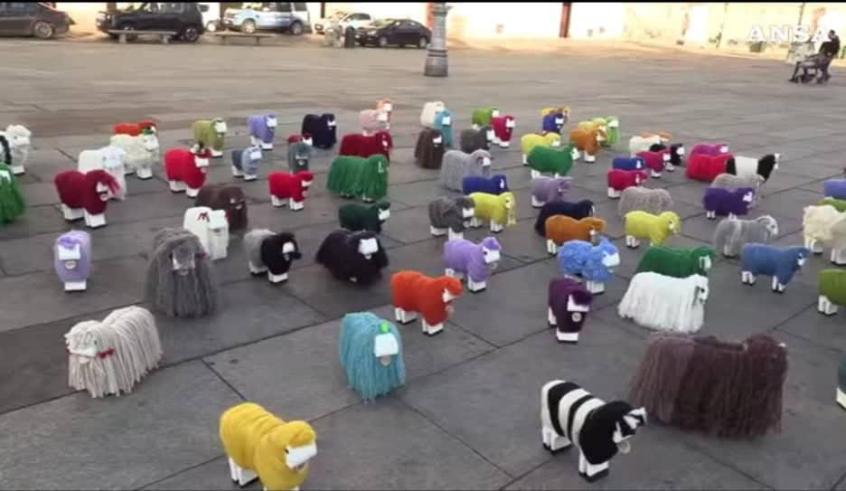 Photo of Invasione di pecore in piazza Castello: è una performance per valorizzare Biella