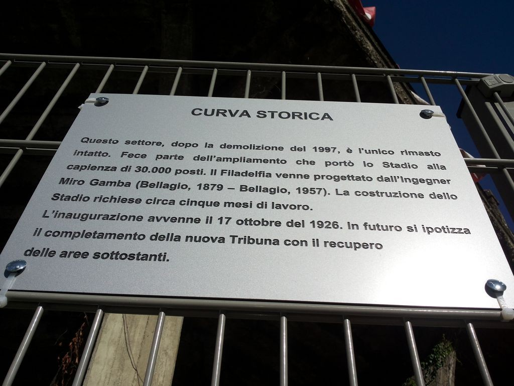 targa curva storica stadio filadelfia