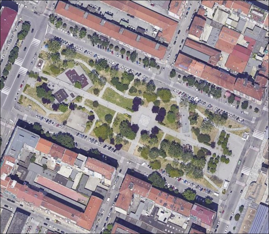 Piazza Galberti Torino vista dal satellite