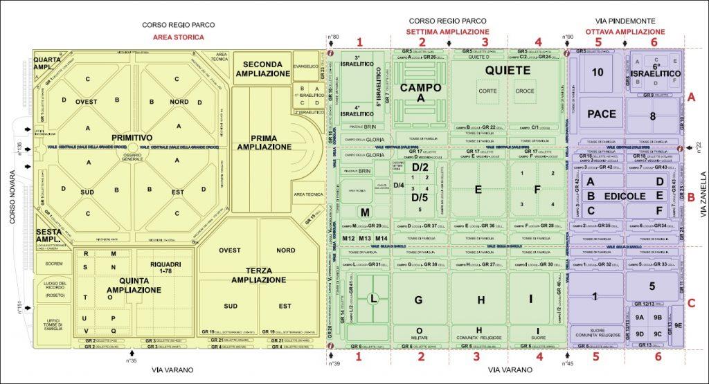 Mappa Cimitero Monumentale Torino